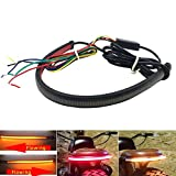 GraceYou Universal Motorcycle Flexible LED Light Strip with Tail Brake Stop Turn Signal Lights, Sequential LED Turn Signal Light Taillights Strip for Motorcycle ATV Quad, Red/Amber, 12-24V