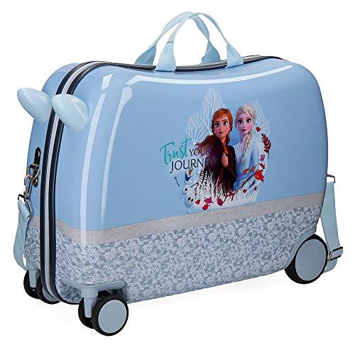 Disney Valigia per Bambini 2 Ruote Multidirezionali Frozen Spirits Of Nature Azzurro, 37x55x20