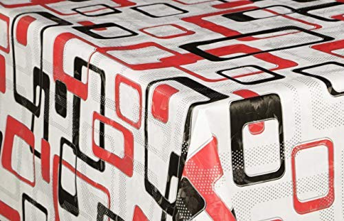 ÖyKüm Vinyl tafelloper, per meter, tafelband, tafelkleed, 140 cm, koude winter, tuin, keuken, eettafel, wit, zwart, rood 300cm x 140cm Wit Zwart Rood