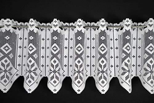 VHG Scheibengardine in rustikaler Optik 30 cm hoch   Breite der Gardine durch gekaufte Menge in 17,5 cm Schritten wählbar (Anfertigung nach Maß)   Weiß   Vorhang Küche Wohnzimmer