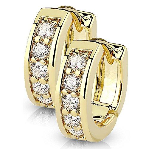 Bungsa goldene Damen-Ohrringe Kristalle klar I hochwertige Klapp-Creolen mit Kristallen für Frauen Edelstahl