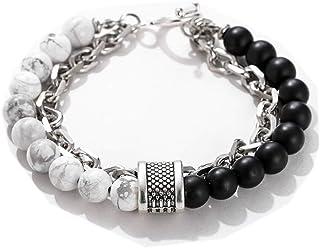 Natural Map Stone Men's Beaded Bracelet women stainless Stainless Steel Chain Link Bracelets Bangle