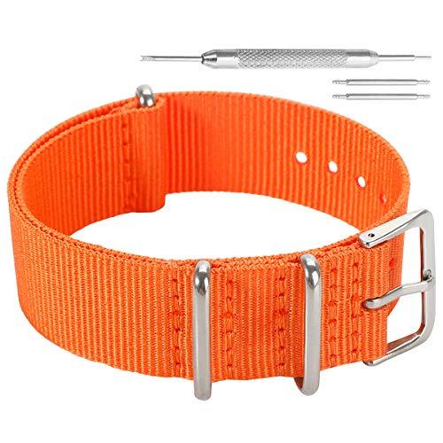 AUTULET 18mm arancione vigorosa livello in nylon Perlon bande cinturini stile sostituzioni per gli uomini