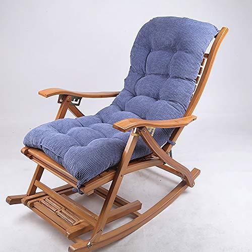 qwert Cord Verdicken Polster Für Schaukelstuhl Zu Outdoor Garden Hochlehner Sonnenliege Kissen Stuhl Lounge-Stuhl Sitzkissen Auflage(Kein Stuhl) Marineblau 120x48cm(47x19inch)
