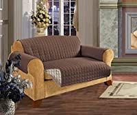 Elegant Comfort Quilted Reversible Furniture Protector for Pet Dog Children Kids with Ties to Prevent Slipping Off Chocolate/Cream Loveseat Size
