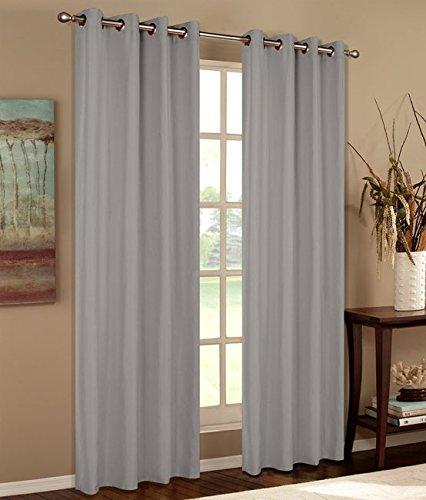 Vorhang Blickdicht Schal, 2 Stück 245x140 (HxB) Matte unifarbene Gardine mit Ösen, Grau Material aus Microsatin Micofaser-Gewebe, 204050