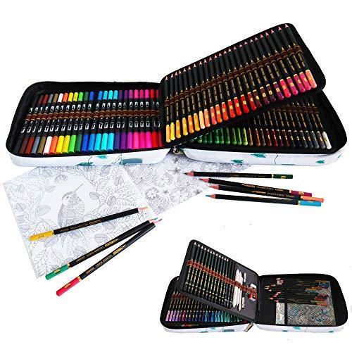 24 Rotuladores Doble Punta Acuarelables y 96 lápices de colores Conjunto de Dibujo,rotuladores punta fina y Lápices Bosquejo Material Set,Incluye Herramientas de dibujo y capacidad grande Caja lápiz
