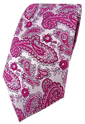 TigerTie Corbata de diseño con estampado de cachemira., Magenta Silver, Talla única