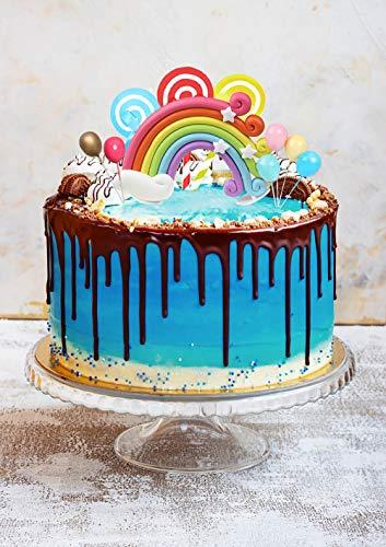 N\O CYJZHEU Tortendeko Geburtstag, 12 Stück Kuchendeko Ballon Regenbogen Tortendeko Süßigkeitenmuster-Kuchendekoration für Mädchen Jungen Kinder Frau Geburtstag Jubiläum Hochzeit Baby Shower