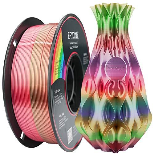 ERYONE Filamento PLA de Seda Arcoíris Con Brillo Metálico Impresora 3D Filamento PLA Multicolor