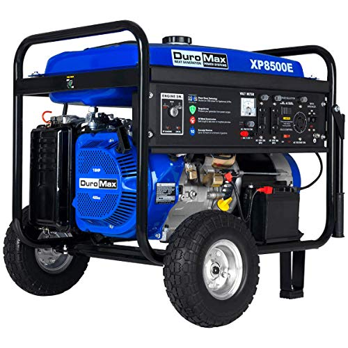 DuroMax XP8500E Gas Powered Portable Generator-8500 Watt Electric Start-Camping & RV Ready, 50 State Approved, Blue/Black