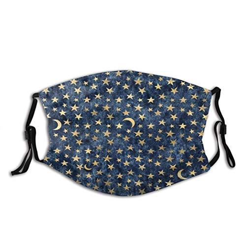 Adjustable Face Mask Blue and Black Celestial Gold Velvet Star Pattern Mask Fashion Scarf Reusable Balaclavas for Men Women
