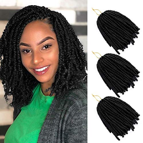 3 Pack Spring Twist Ombre Colors Crochet Braids Synthetic Braiding Hair Extensions Low Temperature Fiber 8inch (#1b,110g/pack)