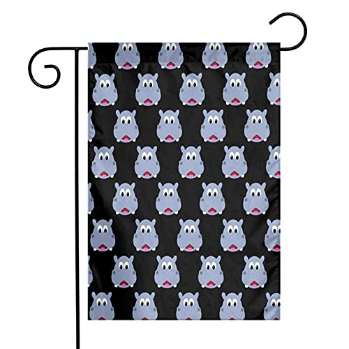 DRXX Cute Hippo Face American Outdoor Decoration Banner for Yard Lawn 12 X 18 Inch USA Garden Flag