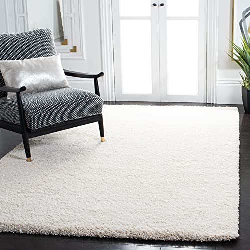 SAFAVIEH Milan Shag Collection SG180 Solid Non-Shedding Living Room Bedroom Dining Room Entryway Plush 2-inch Thick Area Rug, 8' x 10', Ivory