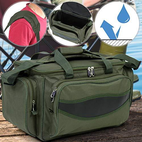 Physionics® Angeltasche - wasserdicht, groß, 56/31/30 cm, Armeegrün, mit gepolstertem Schultergurt und Tragegriffe - Angelbox, Angelkoffer, Anglertasche, Allzwecktasche, Karpfentasche