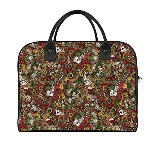 Yeuss Outdoor Travel Bag Casino Doodles Style Artwork Of Bingo And Cards Excitement Checkers King Tambourine Vegas Men'S And Women'S Travel Handbag, Shoulder Bags