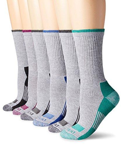 Dickies Women's Dritech Advanced Moisture Wicking Crew Sock (6/12 Packs), Grey Assorted (6 Pack), Shoe Size: 6-9