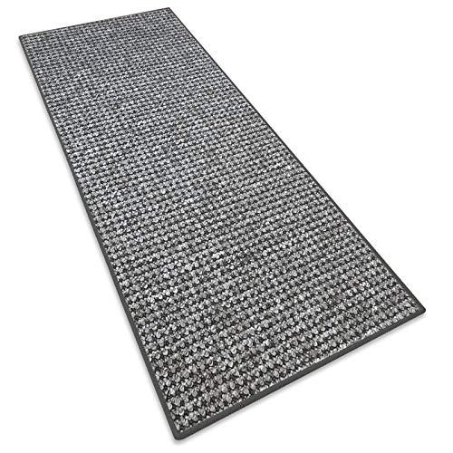 Teppichläufer Grandeur |Teppichläufer Meterware |für Wohnzimmer, Flur, Büro, Schlafzimmer, Küche, Esszimmer | gekettelt | mit Stufenmatten Kombinierbar | Viele Farben | Viele Größen (Grau, 50x100 cm)