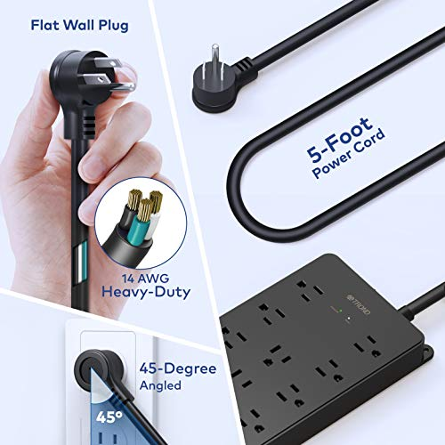 Power Strip Surge Protector, ETL Listed, TROND 13 Widely-Spaced Outlets Expansion with 4 USB Ports, Low-Profile Flat Plug, Wall Mountable, 4000 Joules, 5ft Extension Cord, Black 5