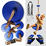 SSBRIGHT Kids Climbing Rope Knotted Tree Swing Ladder with Dis Swing Seat/Foot Hold Platforms, Climbing Gloves, Hanging Strap and Carabiner for Outdoor Tree Backyard Playground Swing