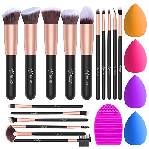 BESTOPE Makeup Brush Set, 16 Pcs Makeup Brushes & 4 Makeup Sponges & 1 Brush Cleaner, Professional Make Up Brush...