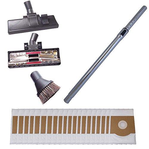 Tubo para aspiradoras 35mm, 265mm de anchura boquillas para suelos duros y cepillo redondo incl. 20 bolsas para aspiradoras compatibles con Bosch BSD 2822 PRO Parquet