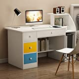 Computer Laptop Desk with Drawer Shelf, Children Study Desk and Bookcase Office Home PC Table with Mainframe Rack Modern Small Writing Learning Workstation (White)