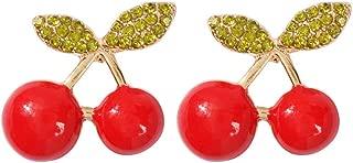 Ranoff Sweet Inlaid Rhinestone Red Fruit Long Gold Pendant Earrings Ladies Jewelry Gift Ear Stud Earrings for Weddings Parties Gift