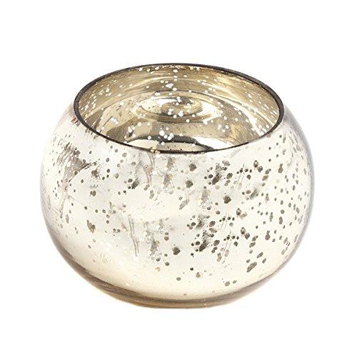 Insideretail-Portacandela tealight Rotondo, in Vetro, Colore: Oro, 6 x 6 cm, Confezione da 48