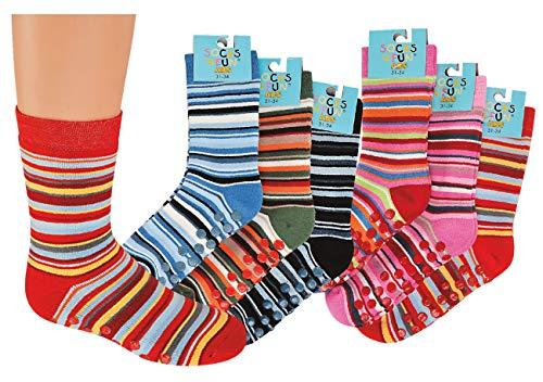 TippTexx 24 6 Paar Kinder Thermo Stoppersocken, ABS Socken für Mädchen und Jungen, Ökotex Standard, Strümpfe mit Noppensohle, viele Muster (Ringel, 31-34)