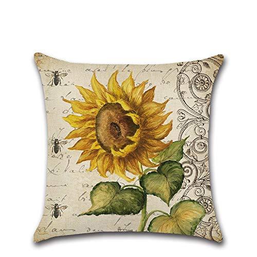 Happyplus1 Motif de Tournesol Housse de Coussin Maison décorative carrée canapé Jet taie d'oreiller 18 x 18 Pouces (Couleur : Sunflower Dragonfly)