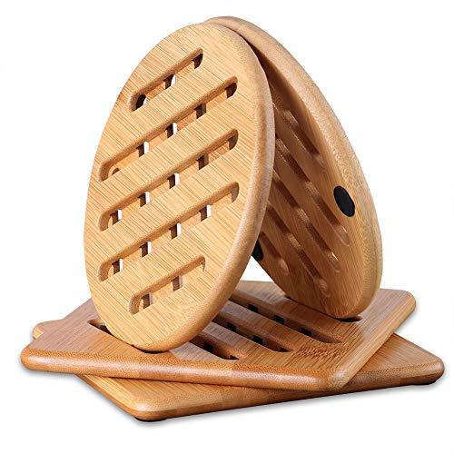 Wzryjs Hitzebeständig Bambus Tischset Natürlich Waschbar Untersetzer Bambus Für Küche Schüssel Töpfe Pfannen Und Teller - 4er Set Topfuntersetzer (2X rund und 2X quadratisch,15cm)