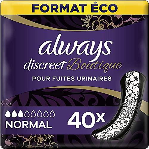 Always Discreet Boutique, Serviettes pour incontinence / fuites urinaires Format éco x40