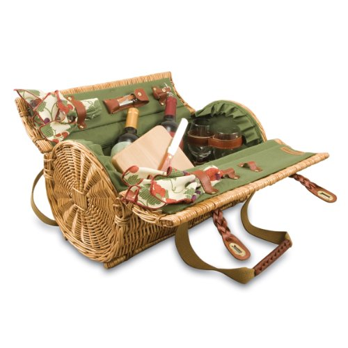 Picnic Time Verona Insulated Wine Basket with Wine/Cheese Service for Two, Pine Green