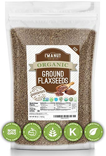 Organic Flax seeds Ground Brown (48oz) Value Size | Superior to Organic | Batch tested Gluten Free | Keto & Vegan Friendly | Non-GMO | All Natural Nothing Added,