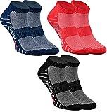 Rainbow Socks - Hombre Mujer Calcetines Deporte - 3 Pares - Azul Marino Rojo Negro - Talla...