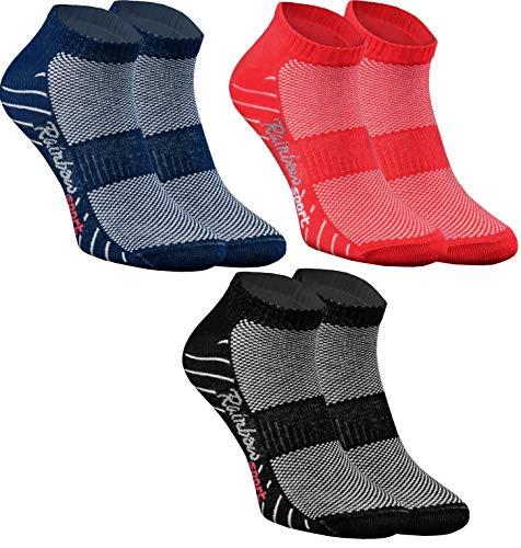 Rainbow Socks - Donna Uomo Calze Sportivi di Cotone - 3 Paia - Nero Rosso Blu Navy - Taglia 39-41