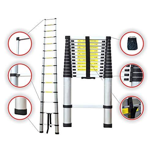 Mehrzweckleiter max Belastbarkeit 150 kg Sotech Alu Teleskopleiter 4,1m Ausziehleiter Warehouse Klappleiter mit Aufbewahrungstasche