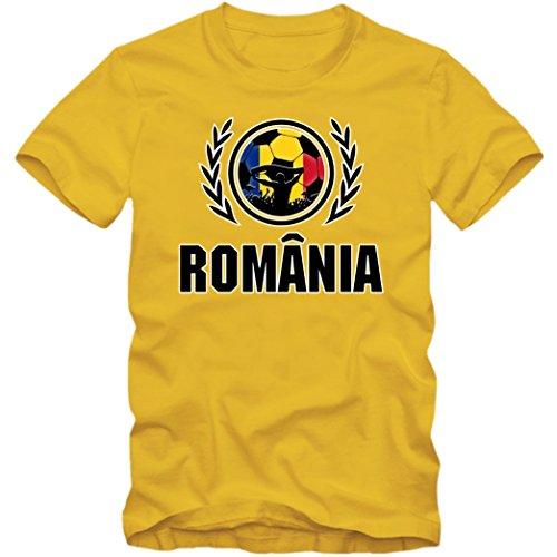 Rumänien WM 2018#2 T-Shirt | Fußball | Herren | Trikot | Tricolorii | Nationalmannschaft, Farbe:Gelb (Gold L190);Größe:5XL