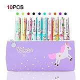 10 Stück Einhorn Stifte Set für Mädchen Schule Geschenk, TOYESS Cute Unicorn Federmappe Teenager...