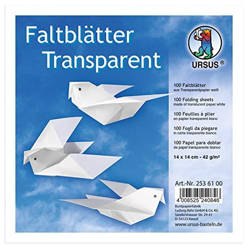 URSUS 2536100 Faltblätter Transparentpapier, weiß, 42 g, ca. 14 x 14 cm, 100 Blatt