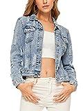 Romwe Women's Casual Long Sleeve Pockets Washed Distressed Denim Jean Jacket Blue M