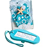 Sea Blue & White Flip Flop Luggage Tags Beach Wedding Favours