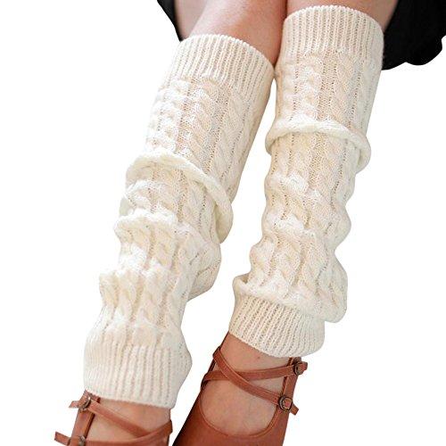 TWIFER Mode Frauen Winter Warm Stulpen Gestrickt häkeln Lange Socken Beinwärmer (Weiß, 42 * 10cm)
