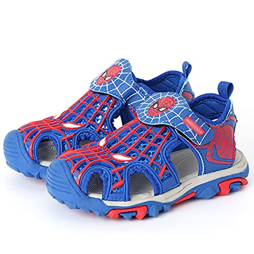 Hflyy Enfant Spiderman Sandales Garçons Mode Pantoufle D été Bout Ouvert Chaussures Plage Semelle Souple Antidérapante Sandale Jardin Plein Chaussure Plate Casual Sneakers,Blue-36 Inner Length 22cm
