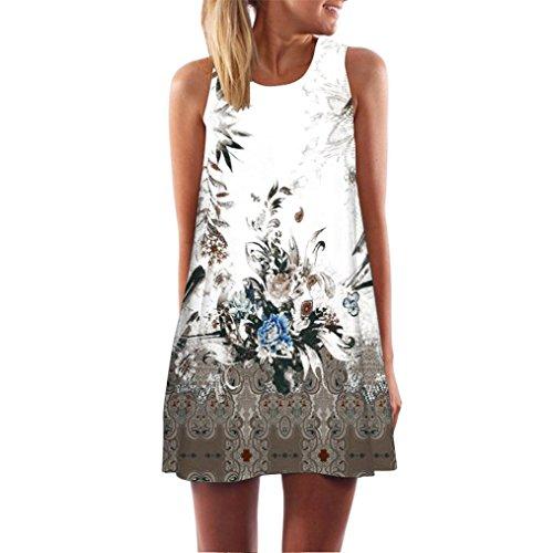 Binggong Kleid Damen, Vintage Boho Frauen Sommer Sleeveless Strand Printed Short Mini Dress Mode Kleid Freizeit Reizvolle MiniKleid Elegant (Braun, M)
