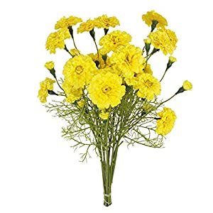PERZOE 6Pcs Artificial Flower Home Simulation Marigold Decoration for House Office Living Room Accessory Easter Day Gifts Yellow