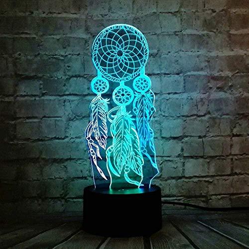 Atrapasueños de San Valentín campanillas de viento ilusión interruptor 3D cambio óptico táctil LED noche luz para infantil decoración lava estado de ánimo lámpara de mesa vacaciones niñas