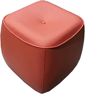 SZQL Ottoman, Bean Bag Chair, Foot Stool,Faux Leather Seat Decorative Pouf- Orange